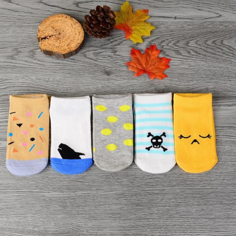 Купить с кэшбэком 5Pair/lot New Hot Sale Cartoon Baby Boat Socks 100% Cotton Non-slip Floor Socks Newborn Comfort Socks Baby Accessories Wholesale