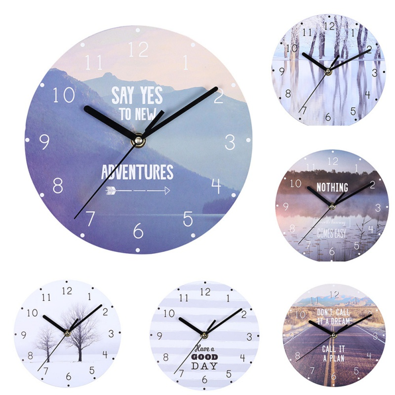 20CM Retro European Wall Clocks Round Digital Dial Mute Metal Wall Clock For Bedroom Living Room Home Decoration
