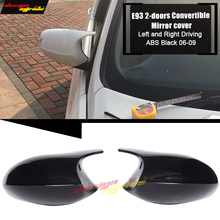 E93 2-Door Convertible Rear Mirror Cover Caps Add on Style M3 Look 2-Pcs ABS Gloss Black 1:1 Replacement For BMW 3-Series 06-09