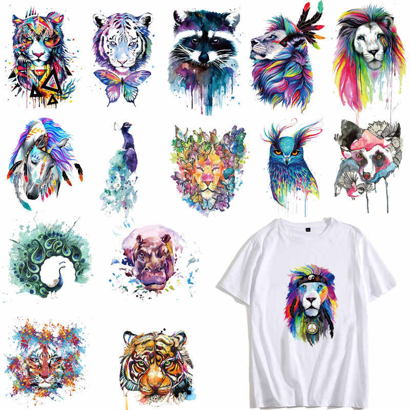 Cute Colorful Lion Dog Owl Tiger Animals Patches Clothing Applications Heat Transfer Fusible Clothing Stickers DIY Tops PVC E