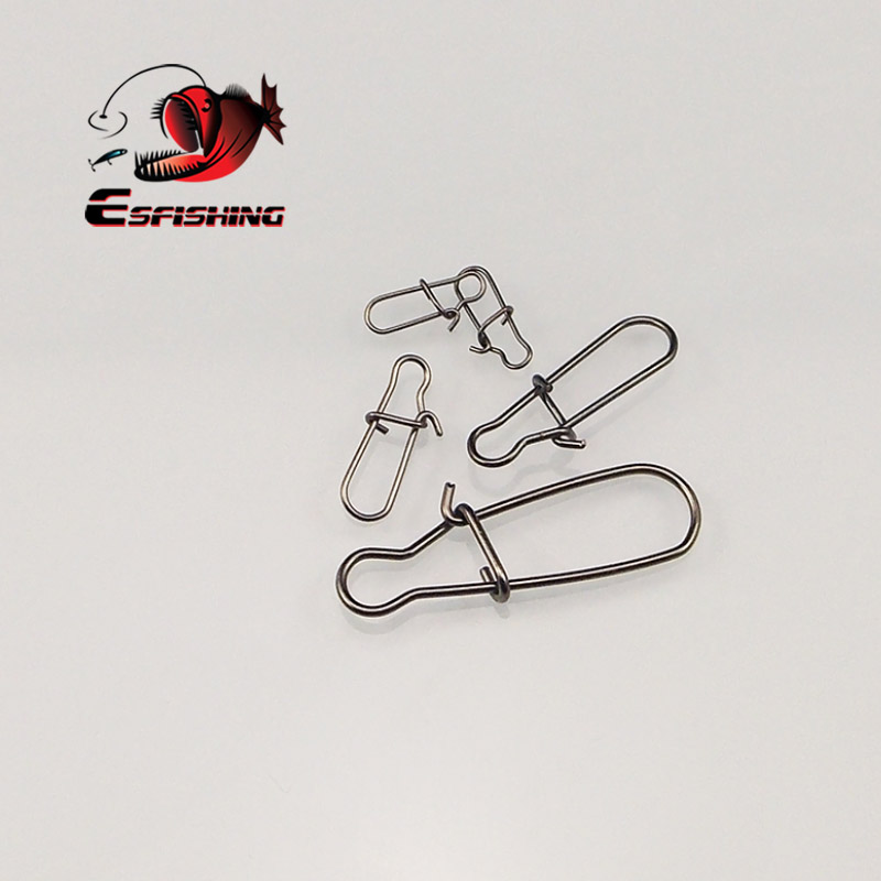ESFISHING 50pcs Steel Fishing Snaps Fastlock Clips Safety Connector Accessories Tackle For Lures Hooks