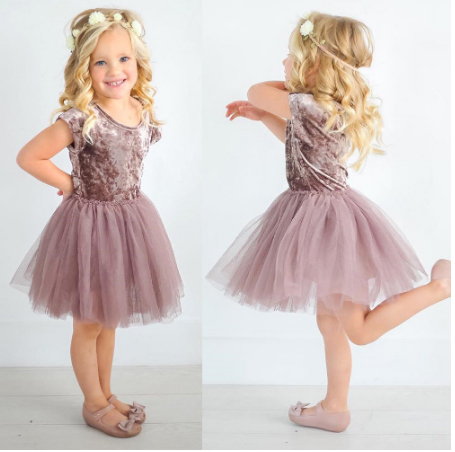 UK Stock Kids Baby Girls Lace Dress Long Sleeve Party Pageant Dress+Hat Clothes