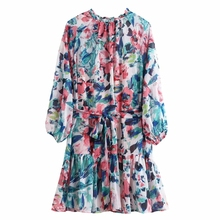 2020 women vintage ink painting print hem ruffles mini dress ladies o neck lante