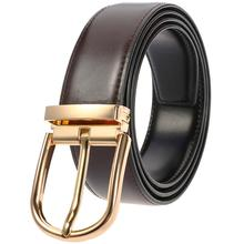 Mens Formal Leather Belt Metal Pin Buckle Waist Belts Cow Real for Men Black Brown Fashion