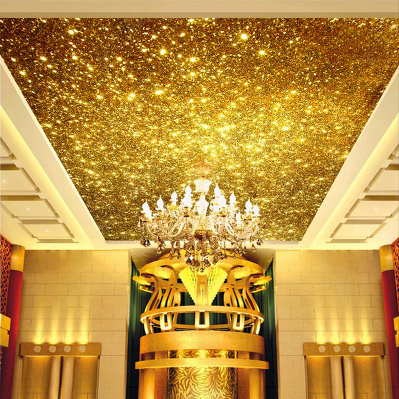 Custom Golden 3D Ceiling Murals Wallpaper Gold Particles Ceiling Design Art Home Decoration Living Room Lobby Ceiling Wallpaper