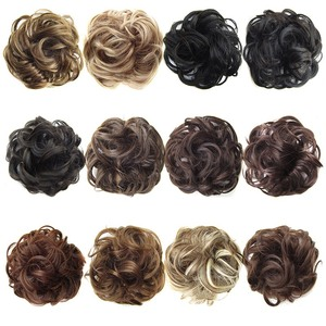 Synthetic Flexible Hair Buns Curly Scrunchy Chignon Elastic Messy Wavy Scrunchies Wrap For Ponytail Extensions(China)