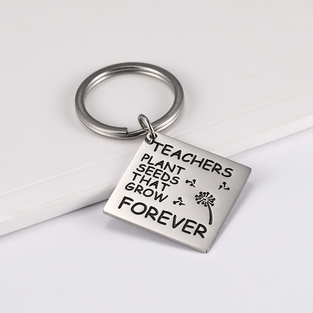 Dawapara Stainless Steel Jewelry Accessories Keyring Square Pendant Laser Engraving Letters Fashion Key Chain