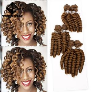 Image 2 - Spring sunshine Loose Wave Soft Funmi Synthetic Hair Weaves 6 Bundles One Pack Black Short Hair Weft Extensions