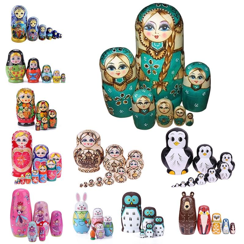 5/7/8/10pcswooden matryoshka bonecas brinquedos russo bonecas de nidificação melhores desejos crianças natal presente de ano novo dia das crianças presente