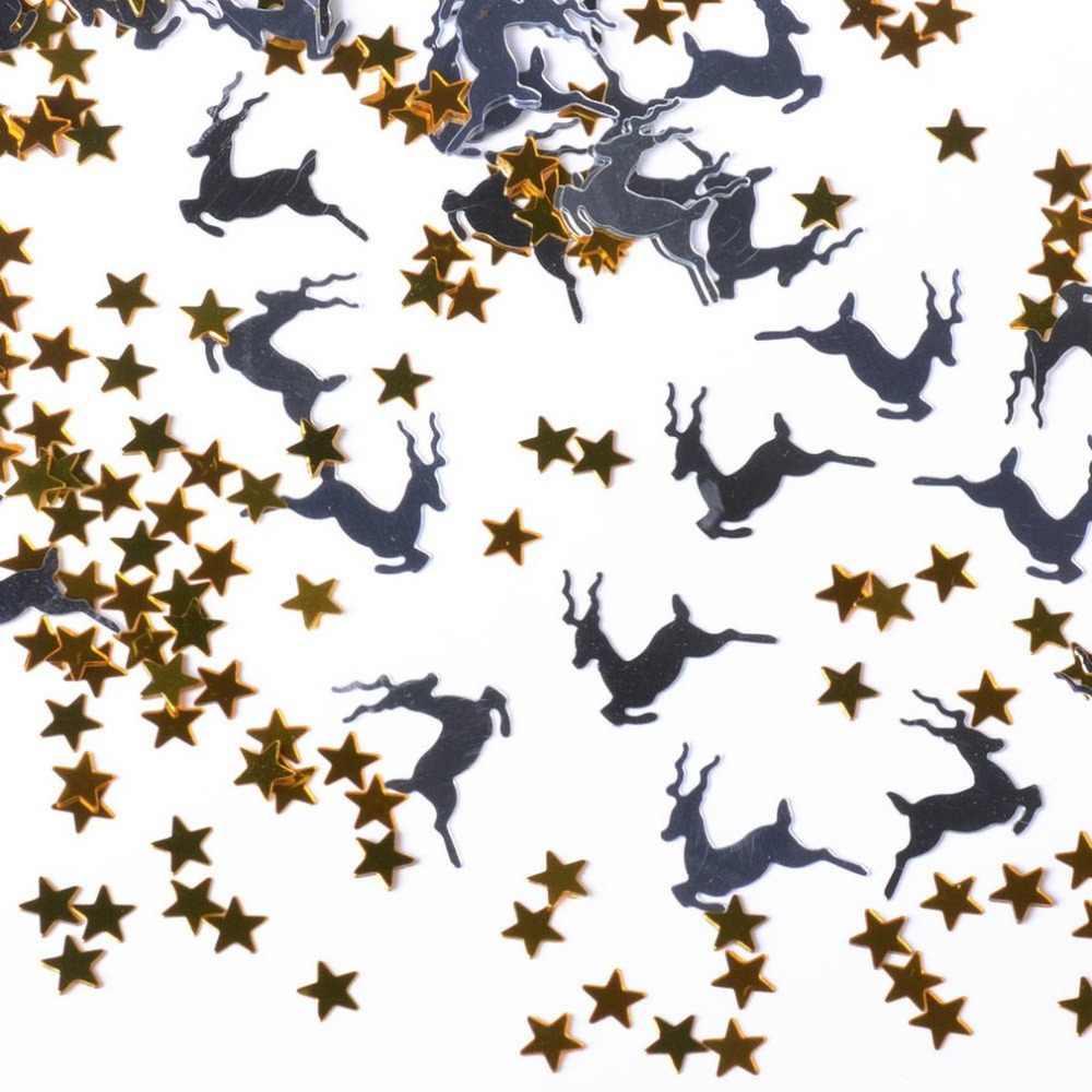 Confeti de cinco estrellas de lentejuelas de ciervo de Navidad para decoraciones de mesa de boda decoración del hogar Accesorios de fiesta