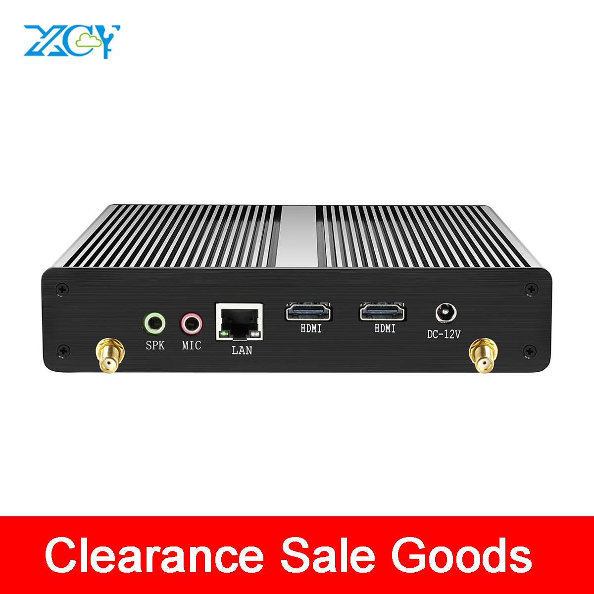 XCY Clearance Sale Mini PC Fanless Celeron N2807 2*HDMI 1.58GHz Windows 10 Wifi 6*USB TV BOX HTPC Family Computer PC