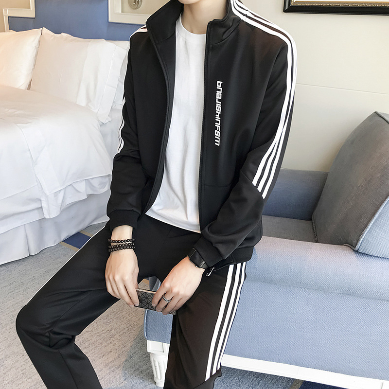 2018 Spring Men's Korean-style Slim Fit Hoodie Trousers Two-Piece Set Fashion Brand Set Men's Sports Leisure Suit