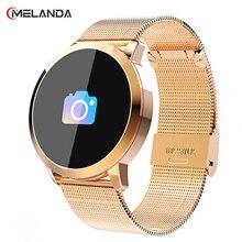 Q8 OLED بلوتوث ساعة ذكية الفولاذ المقاوم للصدأ مقاوم للماء يمكن ارتداؤها جهاز Smartwatch ساعة اليد الرجال النساء جهاز تعقب للياقة البدنية