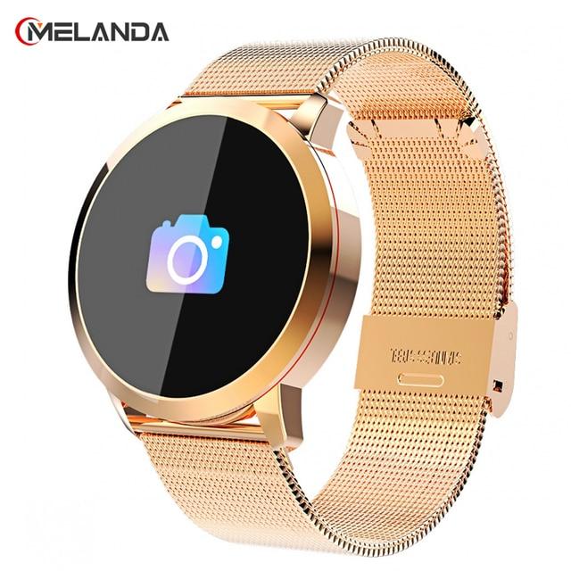 Reloj inteligente Q8 OLED con Bluetooth, de acero inoxidable, dispositivo impermeable, reloj inteligente, reloj de pulsera para hombres y mujeres, rastreador de Fitness