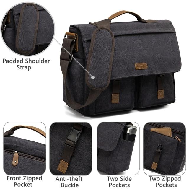 Vaschy mensageiro saco para homem do vintage resistente à água encerado lona 15.6 polegada portátil maleta acolchoado bolsa de ombro para homens 6
