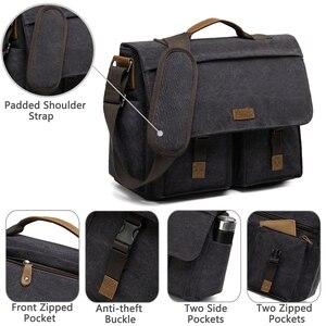 Image 5 - VASCHY askılı çanta erkekler için Vintage su dayanıklı mumlu tuval 15.6 inç dizüstü evrak çantası yastıklı omuzdan askili çanta erkekler kadınlar için
