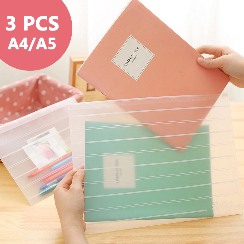3 Pcs/lot Thicken Folder Transparent File Bag  Office Organizers  PP Document Organizer File Folder A4&A5