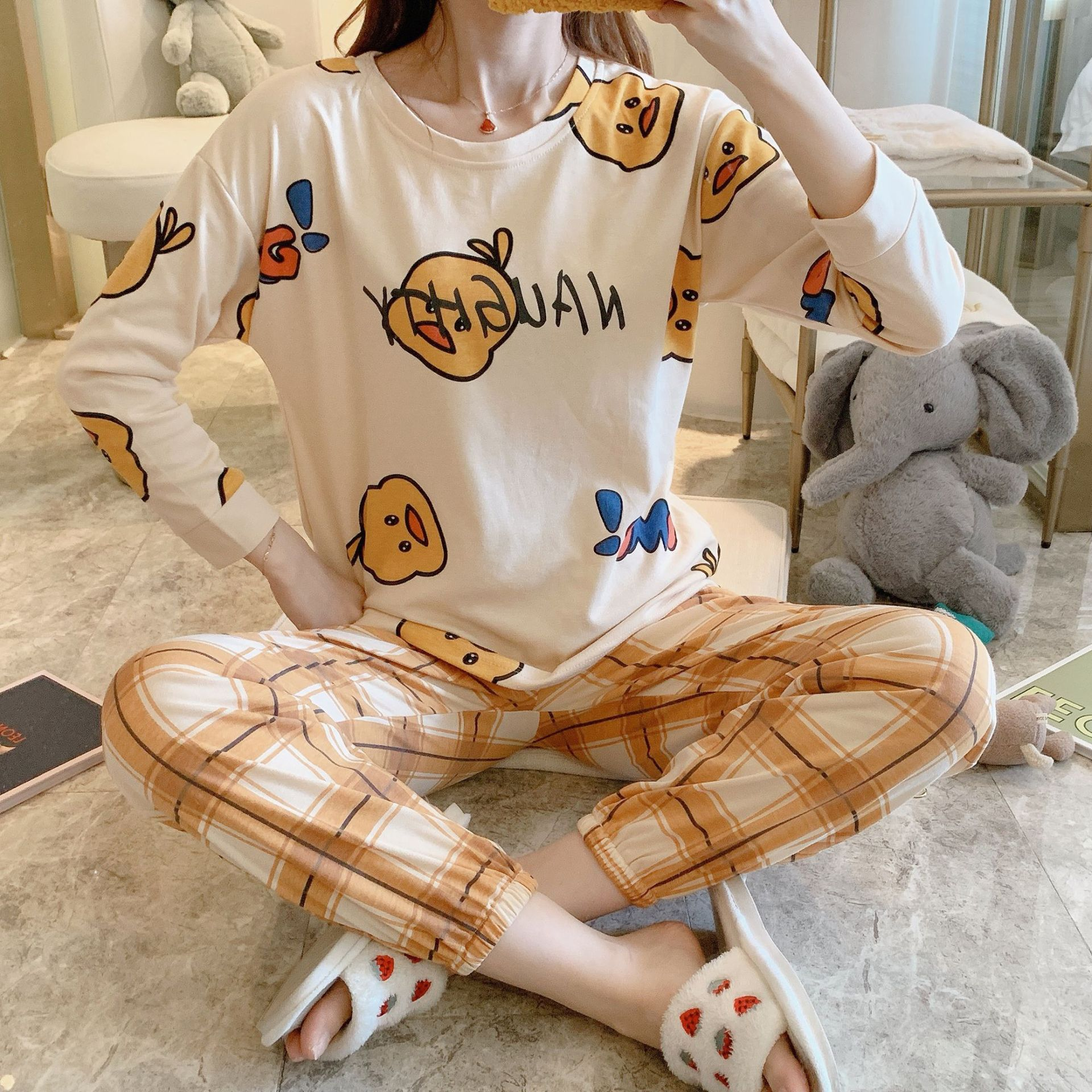 Wechat Business Hot Selling Long-sleeved Pullover Korean-style INS Sweet Women's Pajamas Tracksuit Piece 812 # Yellow. Duck. Sub