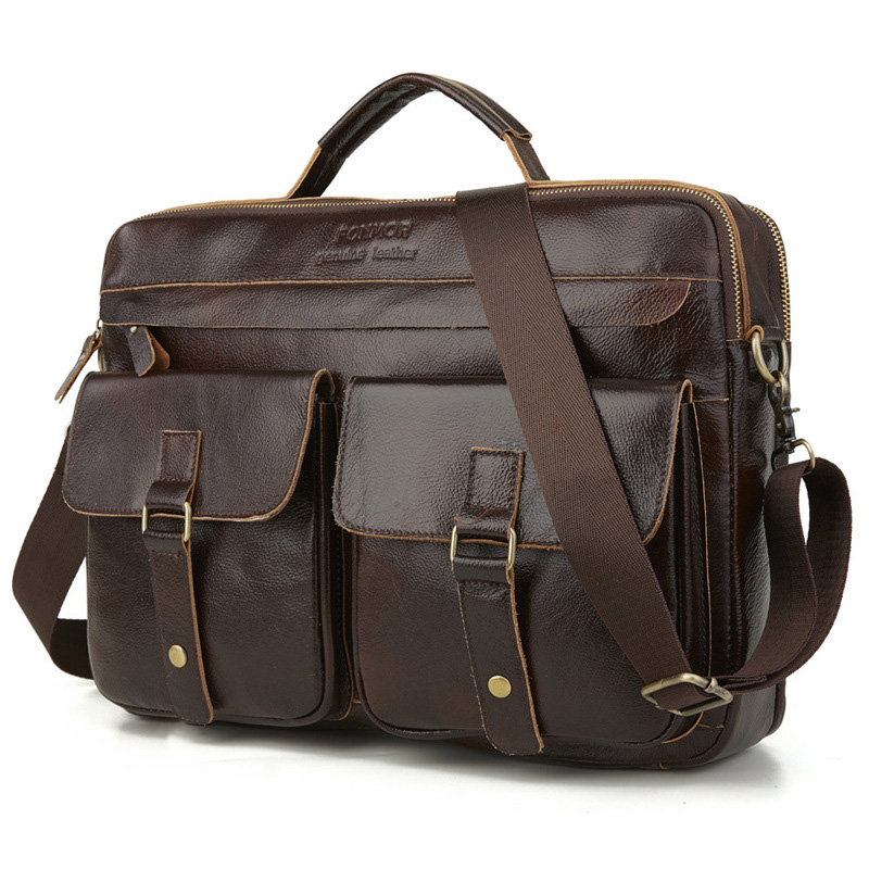 Cowhide Genuine Leather Briefcases Men Business For Documents Handbag Double Layer Zipper Messenger Bags Male Vintage Laptop Bag
