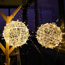 Xmas Outdoor christmas lights led Sepak takraw string lights 20cm 50 led Decoracion fairy light holiday lamp Hanging lighting