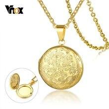 Vnox Floral Textur Frauen Medaillon Anhänger Gold Farbe Edelstahl Halsketten Rurality Blume Feme Halskette