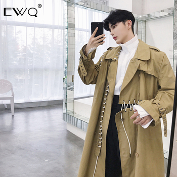 EWQ / Autumn Fashion New Three-dimensional Cut Bottom Clothes Rope Bandage Asymmetry Overknee Loose Coat Tide Trend 19H-a30