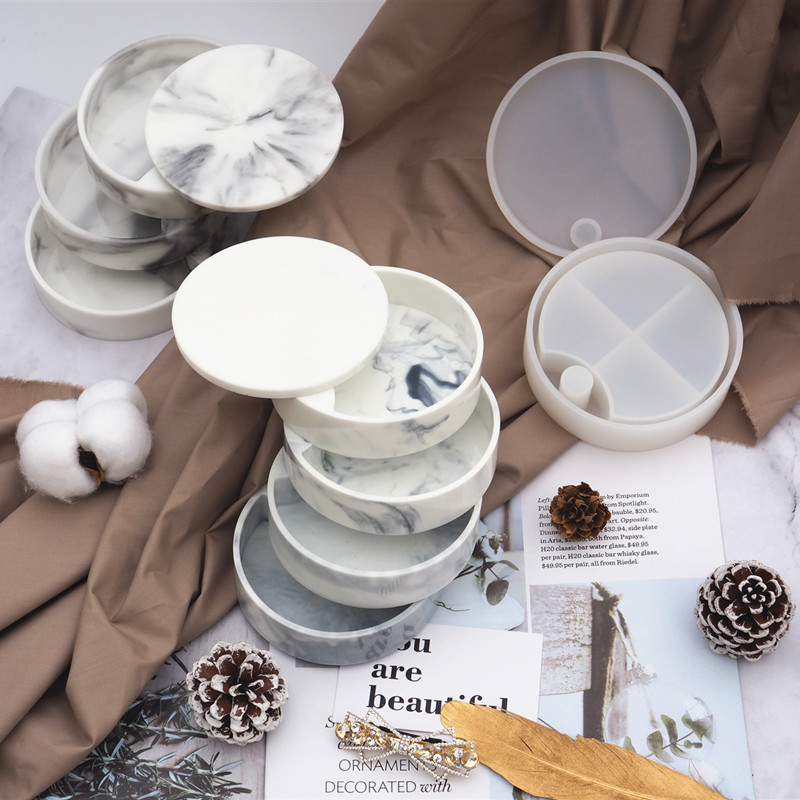 Rotating Cosmetic Storage Box Silicone Mold Round Makeup Organizer Jewelry Storage Fashion Make Your Own Box Resin Art