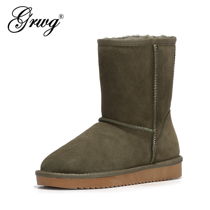 GRWG 100% Genuine Cowhide Leather Snow Boots Women Top Quality Australia Boots Winter Boots For Women Warm Botas Mujer