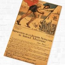 Servicio militar juvenil francés WWI WW1 Propaganda Retro Vintage de póster lienzo DIY pegatinas de pared pósteres casa Decoración Para Bar