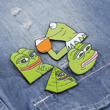 Smiling Sad Frog Pepe Mens Brooch Lapel Button Icon with Dad Pin Set Badge Backpack Bag Hat Accessories