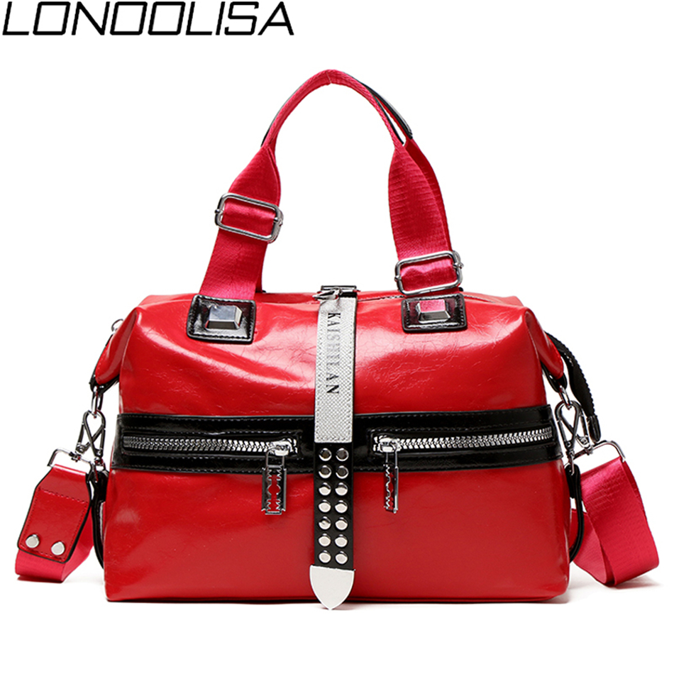 New Fashion Rivet Ladies Boston Bag Resizable Luxury Handbags Women Bags Designer Front Double Pocket Crossbody Bags For Women
