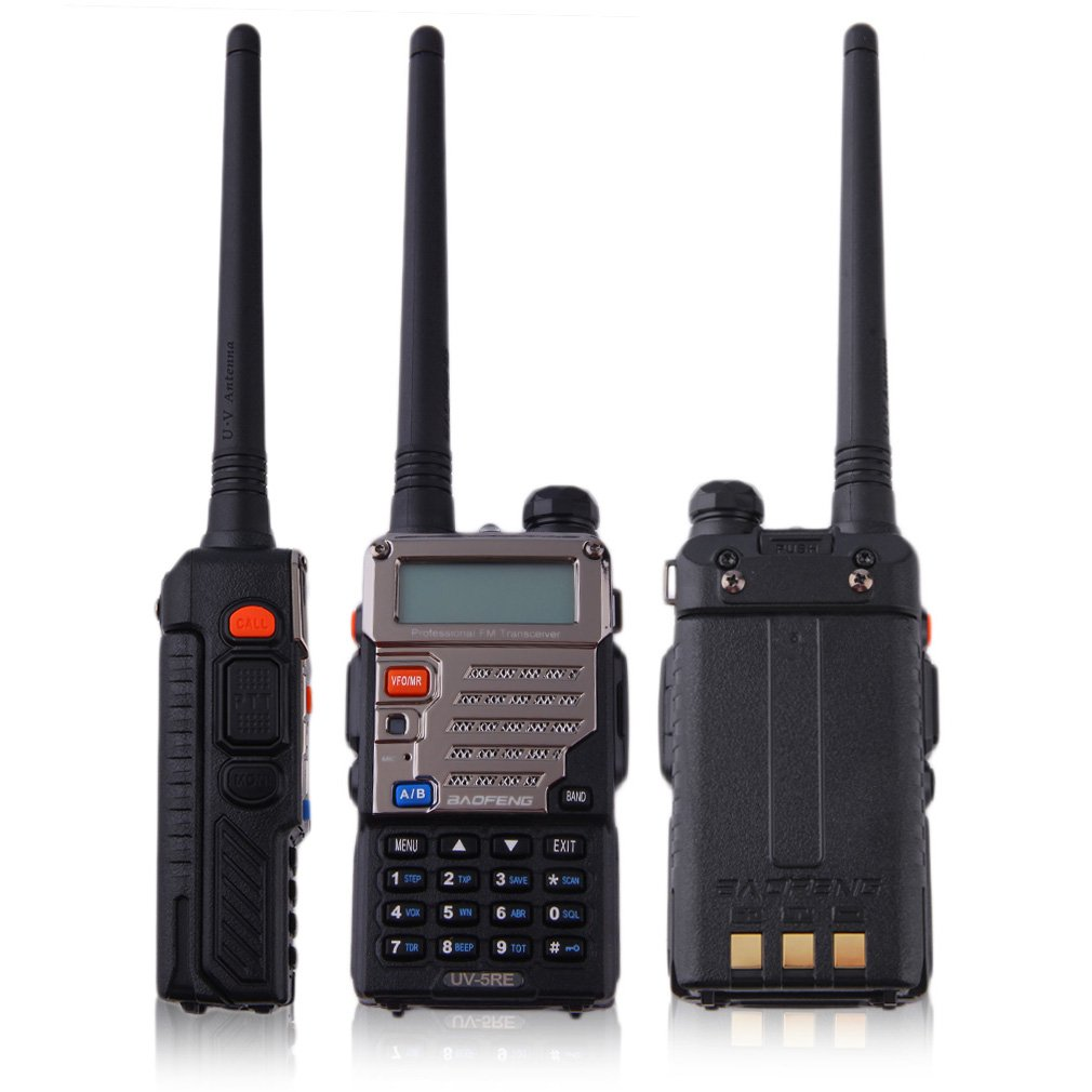 BF-UV-5RE Walkie Talkie 5W 128CH FM VOX DTMF Two-Way Radio US Adapter