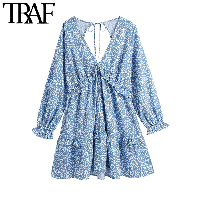 TRAF Women Chic Fashion Animal Print Ruffle Mini Dress Vintage Backless Bow Tied Side Zipper Female Dresses Vestidos 1