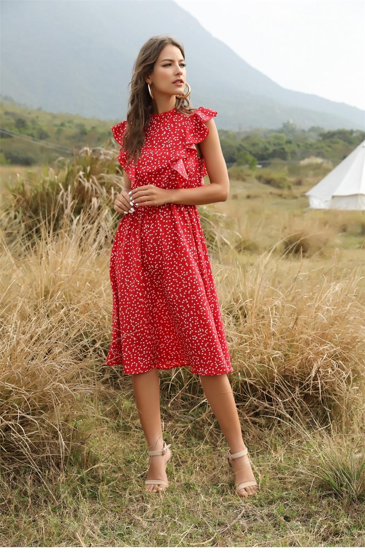 Dot Print Butterfly Sleeve Ruffles Long Chiffon Dress 1