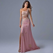 Total One Shoulder Vestidos with Appliques Hot Pink Tulle Si