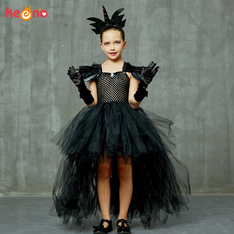 Black Dark Angel Girls Tutu Dress V-neck Train Girls Pageant Evening Party Ball Gown Fancy Dresses Kids Halloween Witch Costume 2