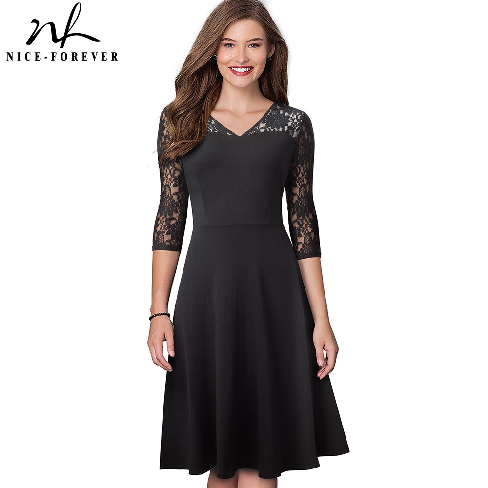 Nice-forever Sexy Floral Lace Patchwork Black Vestidos Business Party Autumn Elegant Flare Women Dress A167