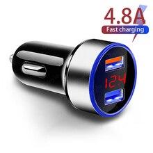 Автомобильное зарядное устройство 4,8 А, 5 В, 2 порта, быстрая зарядка для Samsung, Huawei, iphone 11, 8 Plus, универсальное алюминиевое автомобильное зарядно...