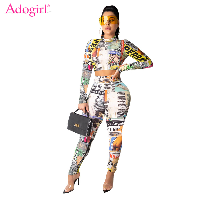 Adogirl Colorful Newspaper Print Casual Two Piece Set Women Tracksuit O Neck Long Sleeve T Shirt Crop Top Pencil Pants Suits
