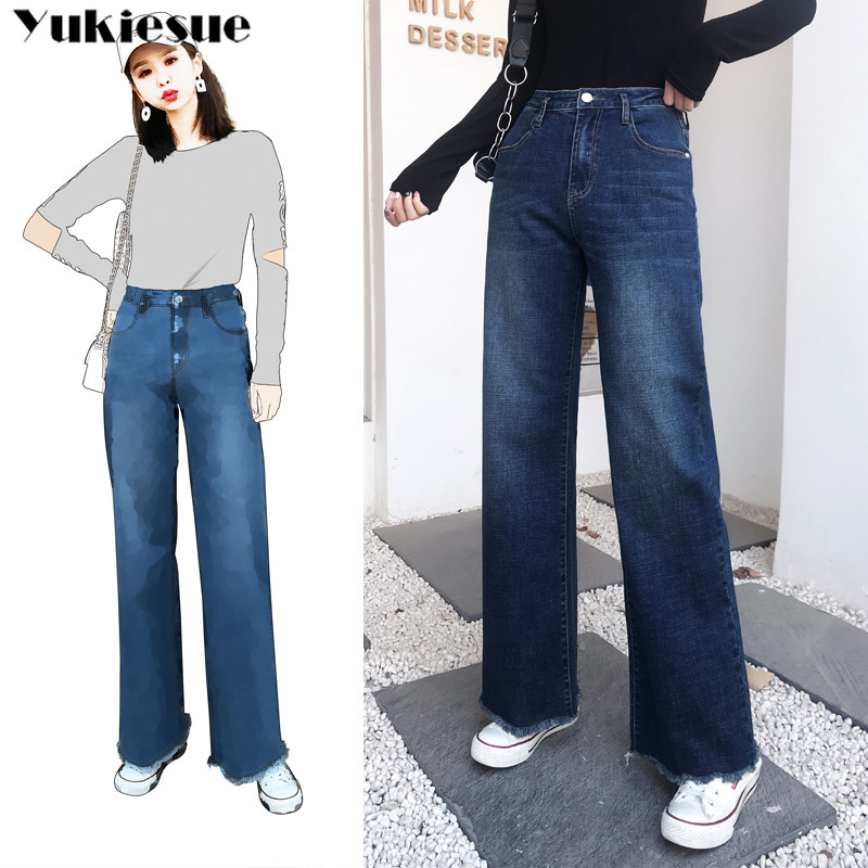 Blue Denim Wide Leg   Jeans   Women 2019 autumn winter high Waist loose long causal Mom   Jeans   Plus Size Boyfriend   Jeans   woman