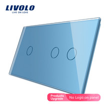 Livolo Luxury 7colors Pearl Crystal Glass,151mm*80mm,Glass Only EU standard,Double Glass Panel,C7-C1/C2-11,only panel ,no logo
