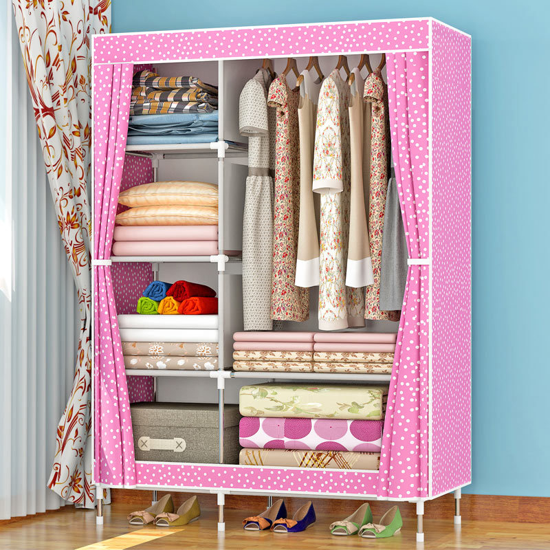 Wardrobe Simplicity Cloth Wardrobe Steel Tube Rough Reinforced All Steel Frame Economical Assembly Dormitory Single Person Fabri