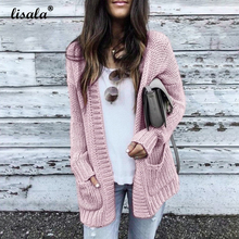 LISALA Pink Cardigan Sweater Knitted Long Sleeve Womens Tops Basic Rib Knitting Sweaters female Solid Grey Beige