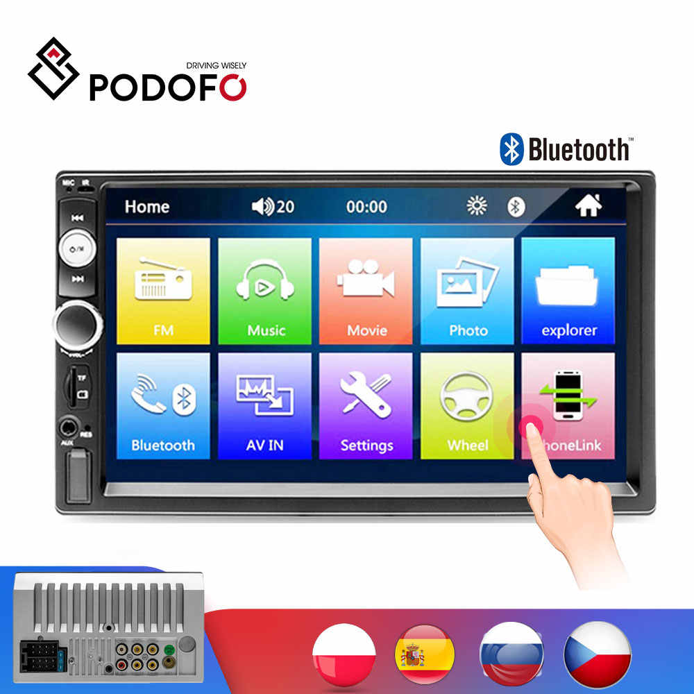 "Podofo 2 Din Auto Radio 7 ""Autoradio Multimedia Speler MP5 Auto Car Audio Autoradio Bluetooth Usb Backup Monitor 2din auto Radio"