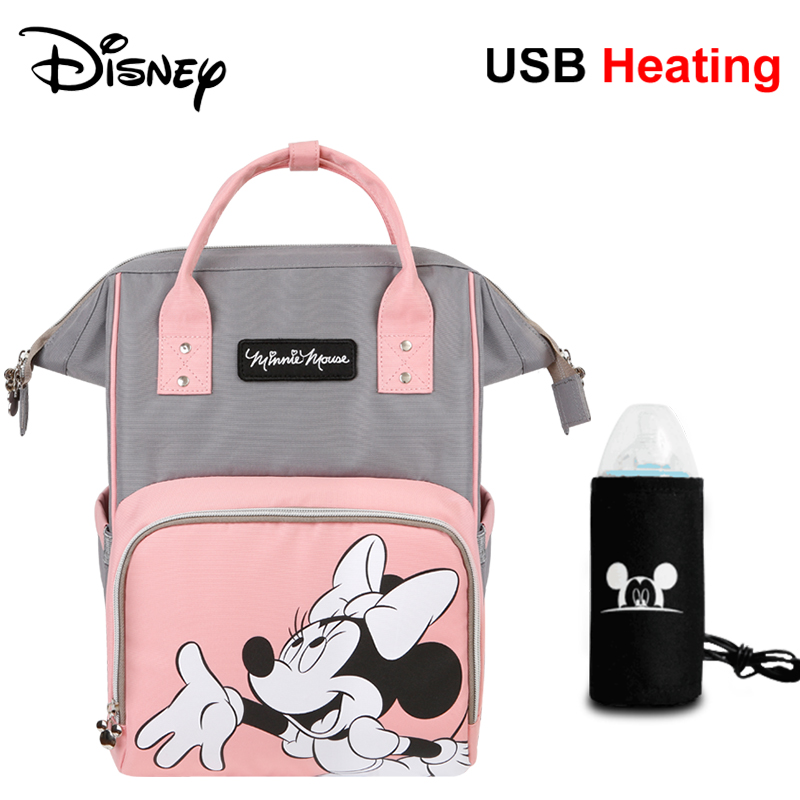 Disney Baby Diaper Bag USB Mickey Stroller Mummy Backpack Baby Care Bags Large Capacity Maternity Nappy Wet Bag for Mom Travel