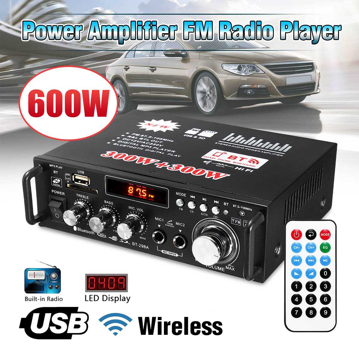 12V/110V 600W 2CH Bluetooth HiFi Stereo Amplifier USB SD FM Radio Power Stereo Car Amplifier Audio Home Amplifier+Remote Control