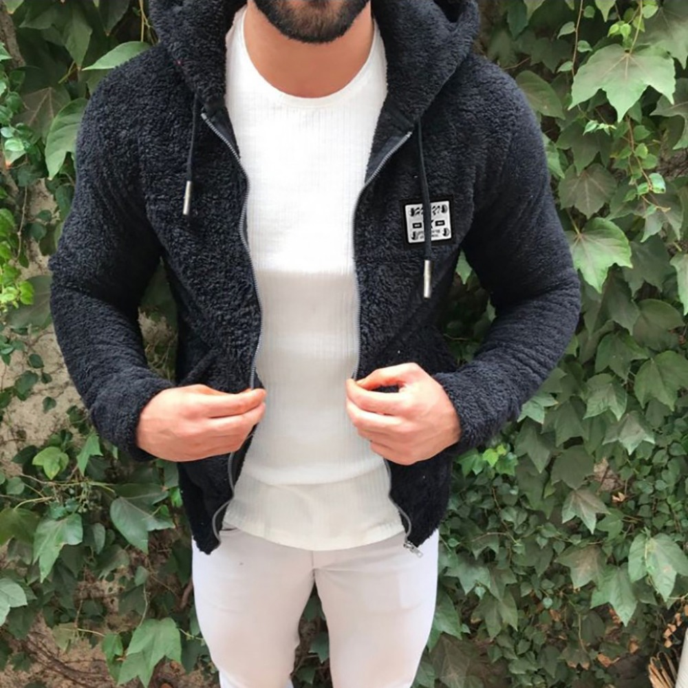He4c0bfd531af4950b6fd6aab5fb85b36g Jacket Men's Sweater Warm Hooded Sweater Coat Jacket Men's Autumn Winter Casual Loose Double-Sided Plush Men's Sweater Coat Top