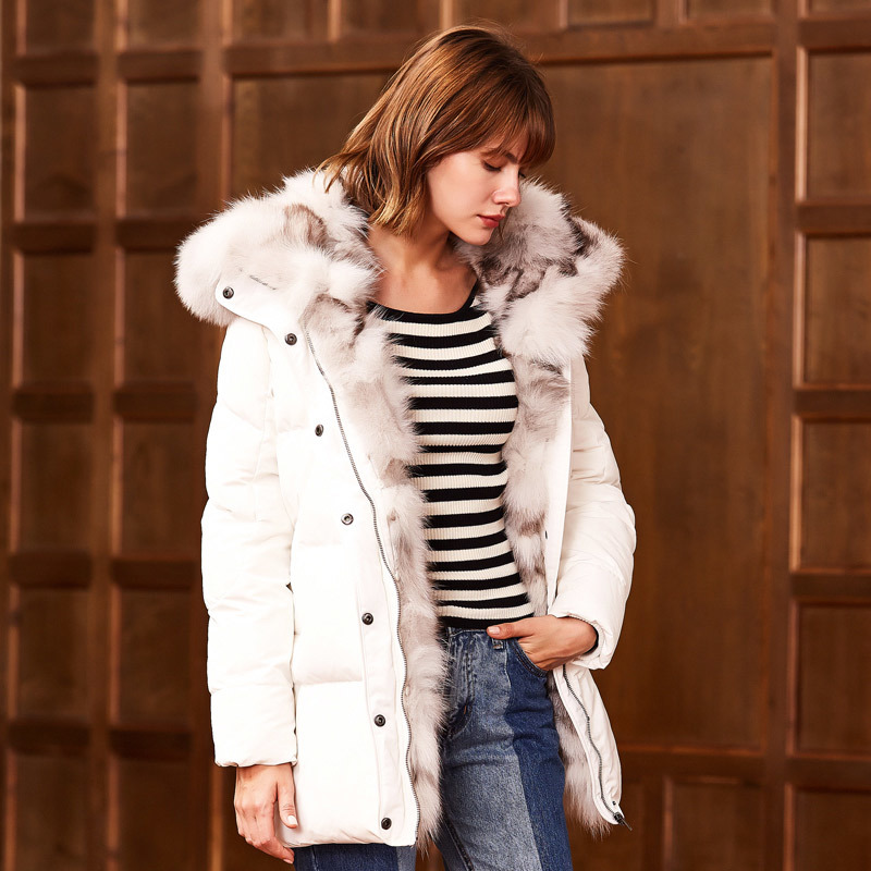 Down Winter Women's Jackets Real Fox Fur Collar Female Jacket Long Coat Women Luxury Thick Parka Veste Femme KJ730
