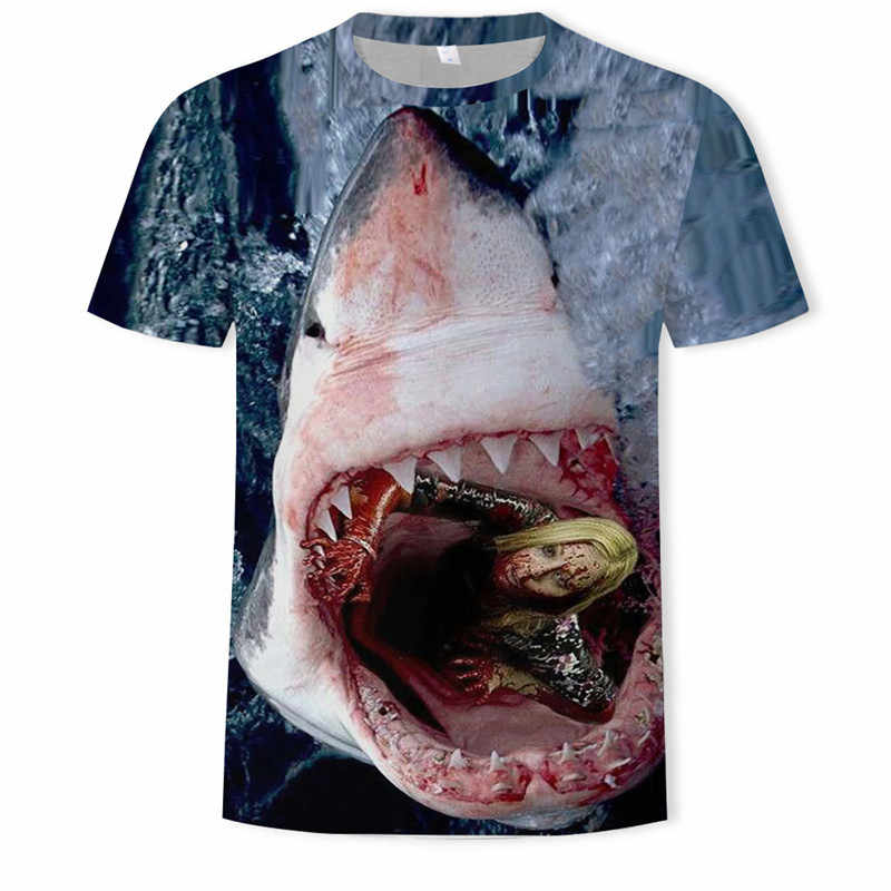 Terro requin T-shirt hommes mer T-shirt Punk Rock vêtements 3d T-shirt Animal Rap HipHop Tee Fitness hommes vêtements 2018 nouveaux décontracté és