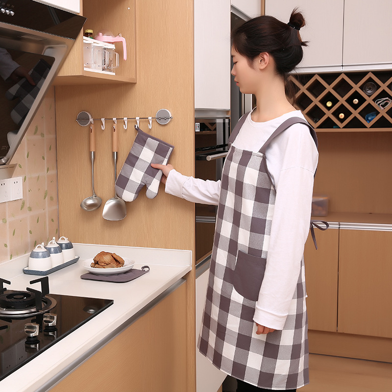 Kitchen Apron Korean style Style Oil Resistant Women's Work Clothes Cute Cooking Apron Insulation Pad Coasters Anti hot Gloves|Oversleeves| |  - title=